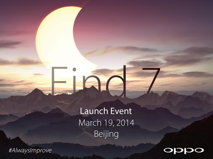 Oppo Find7 Oppo is launching its Find 7 smartphone on March 19 in Beijing