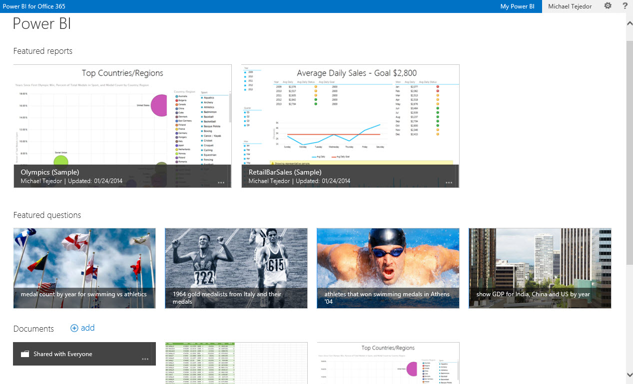 An example of a Power BI Site where users can share reports and data views through the browser. Power BI Sites also includes a Data Refresh capability which connects back to on premise data base and refreshes data in reports that are saved to the cloud.