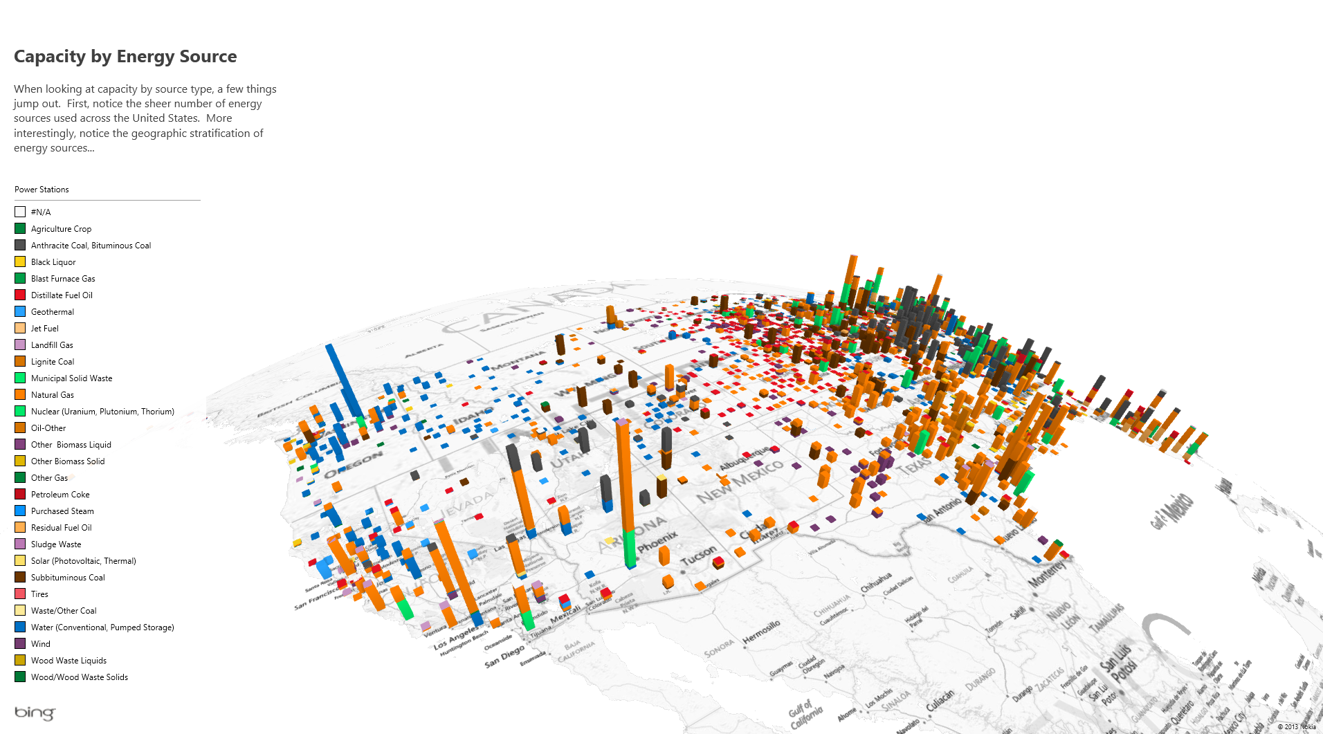 A view of a sample dataset in Power Map, which allow users to create rich 3D geospatial visualizations in Excel.