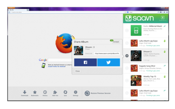 Saavn 600x374 Firefox 27 arrives with simultaneous Social API services, SPDY 3.1 and TLS 1.2 support, more languages on Android