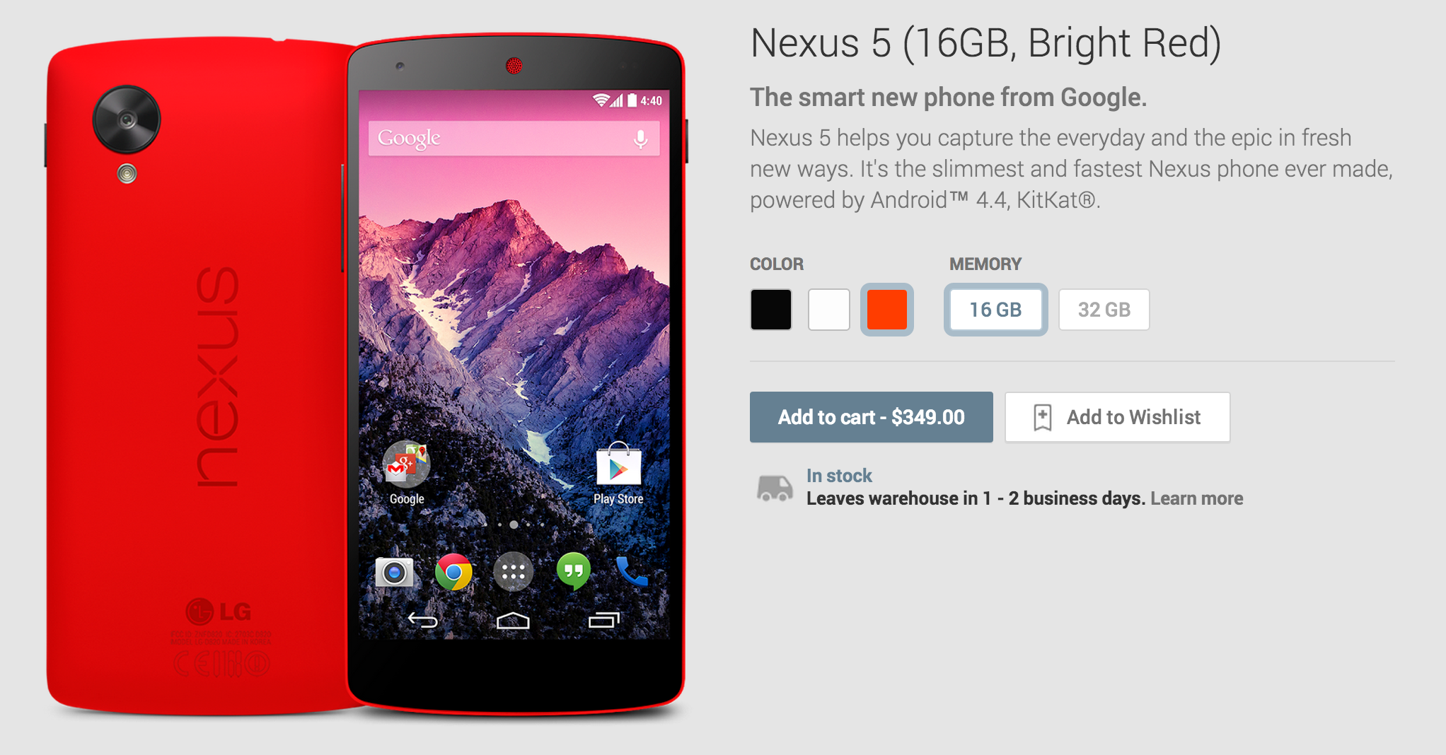 Screen Shot 2014 02 04 at 11.00.34 AM Red Nexus 5 now available from Google Play: 16GB for $349 and 32GB for $399