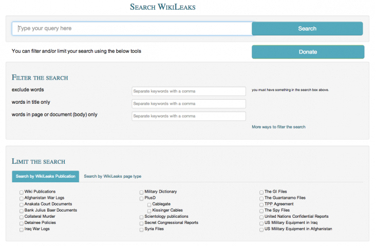 Screen Shot 2014 02 17 at 15.40.51 730x479 WikiLeaks now offers a search engine to help you find documents linked to any keyword