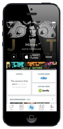 Shazam Track Result iOS 220x445 Shazam moves to prioritize TV and music video tagging