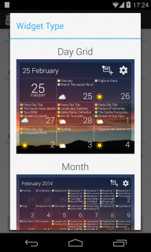 Theme widget type 220x366 DigiCal for Android gets new look widgets and calendar view options