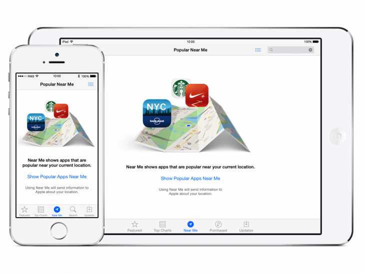 Apple introduces the 'Popular Near Me' section of the App Store to new users.