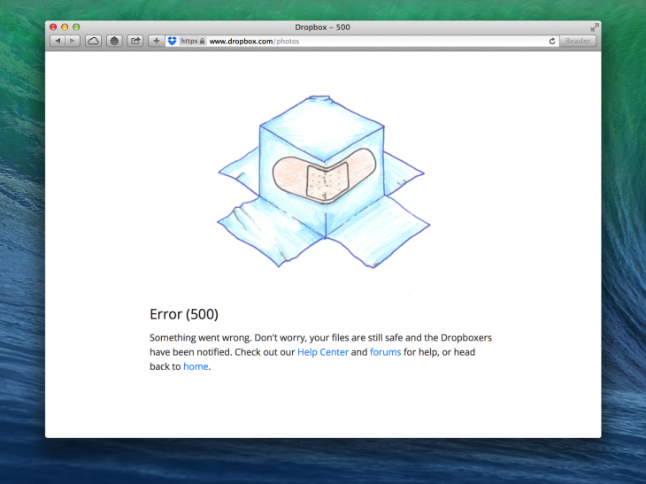 Dropbox reassure users while providing links to find help.