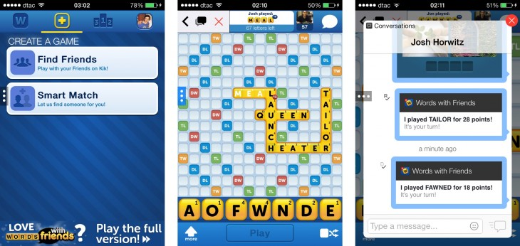 kikzygna 730x346 Zynga continues to test the mobile messaging waters with a second game for Kik