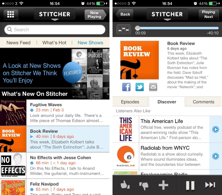 stitcher1 9 of the best podcast apps for the iPhone and iPad