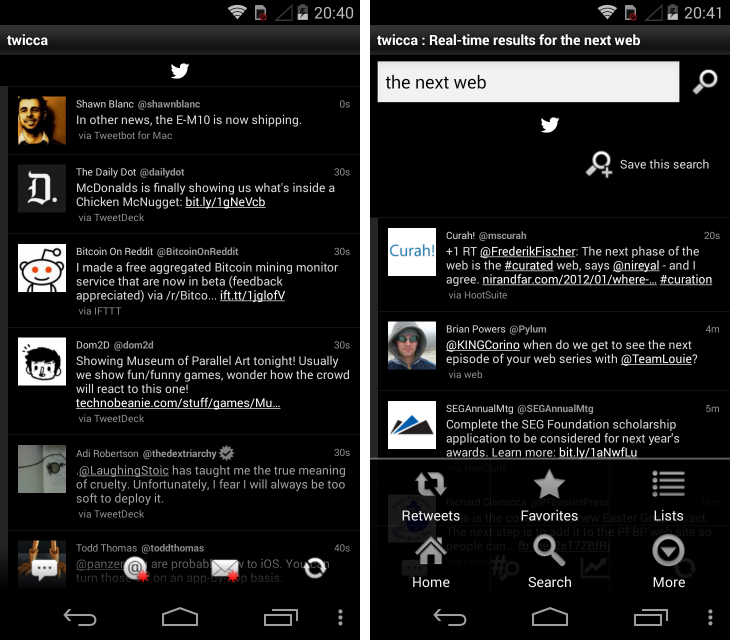 twicca Fed up with Twitters official Android app? Try these alternatives