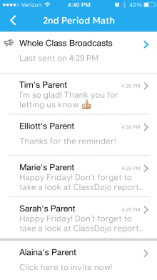 03 Messaging inbox 220x392 ClassDojos mobile app now lets parents and teachers message each other to keep kids in line