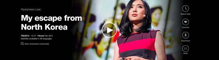 4 Hyeonseo Lee translated languages zoom 730x203 TED.com revamped with new video player, watch later option, dynamic transcripts and more