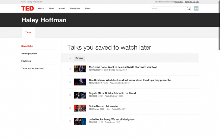 5b Watch Later queue1 730x466 TED.com revamped with new video player, watch later option, dynamic transcripts and more