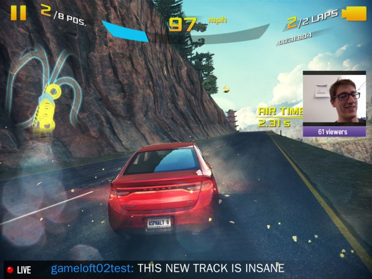 A8 Twitch gameplay 730x547 Asphalt 8: Airborne for iOS will be the first mobile game to offer built in Twitch streaming