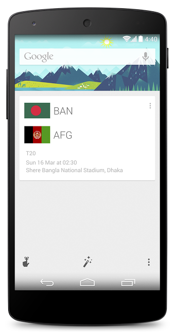 Cricket 2 Google Now gains support for cricket with live updates for national teams ahead of ICC World Twenty20