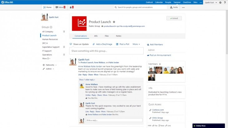 ES Yammer 05 resized 730x410 Microsoft details social Office Graph updates coming to Office 365 in 2014