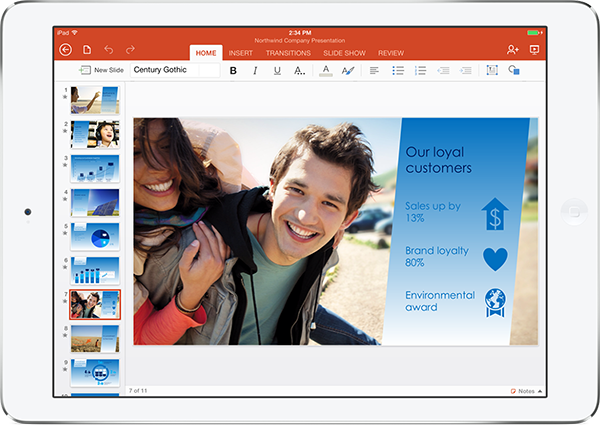 IMAGE 02 PPTHero iPad Slvr Microsoft launches Office for iPad: Includes Word, Excel, and PowerPoint but requires subscription for editing