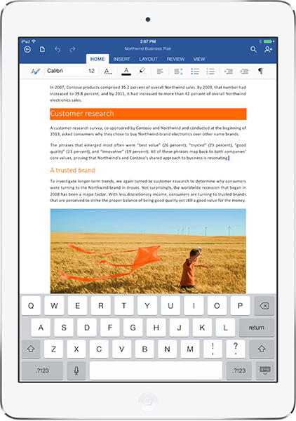IMAGE 03 OfficeHeroPortrait iPad Slvr Microsoft launches Office for iPad: Includes Word, Excel, and PowerPoint but requires subscription for editing