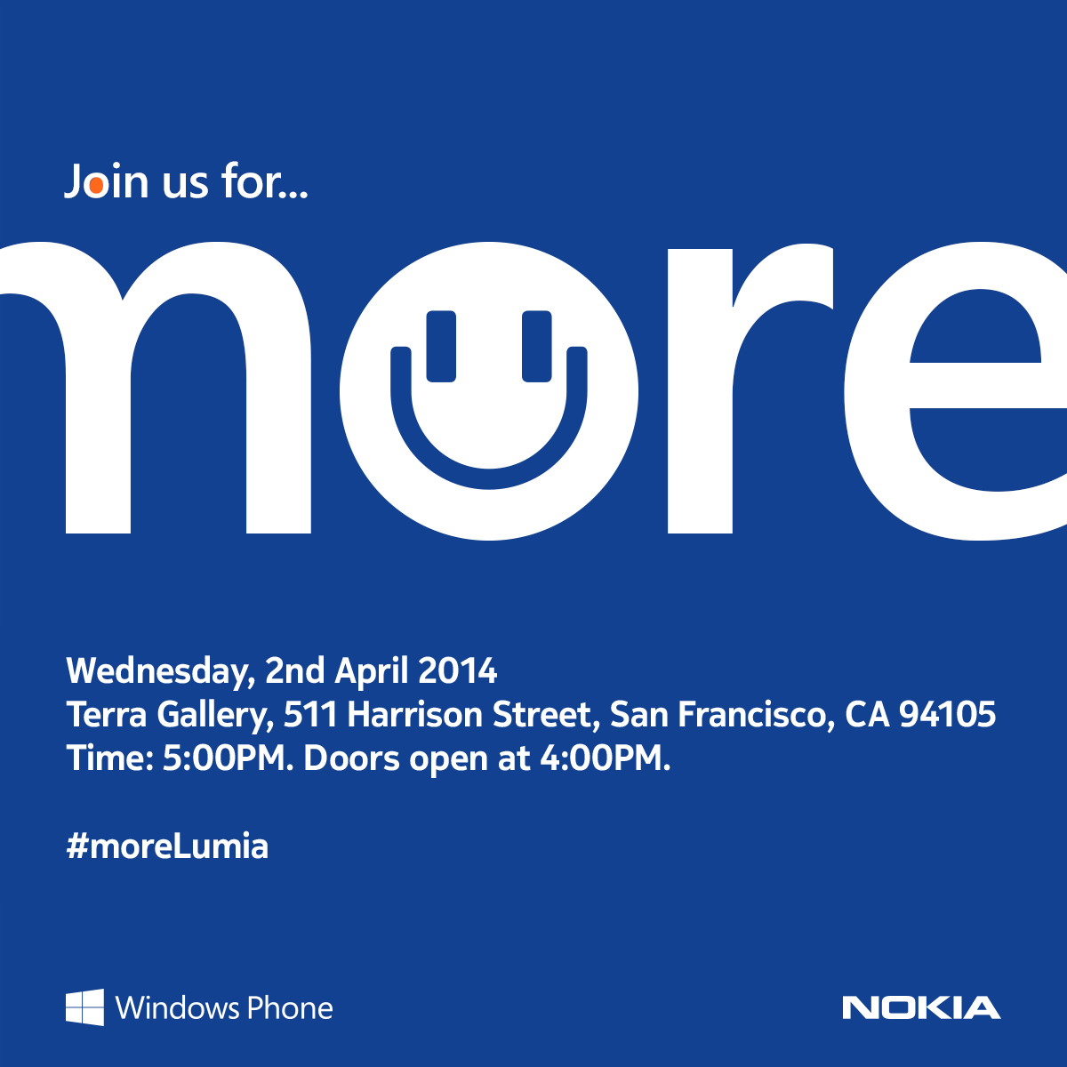 More Invite Nokia hosting more Lumia event on April 2 in San Francisco to talk about Microsofts acquisition