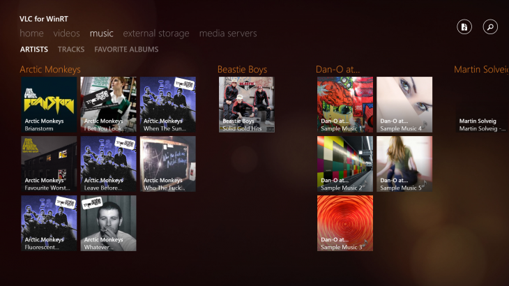 Music Pane 730x410 VLC app for Windows 8 arrives in beta, but no support for Windows RT devices just yet