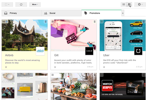 Promotions Tab GMail Google trials a new visual way to view promotions in your Gmail account