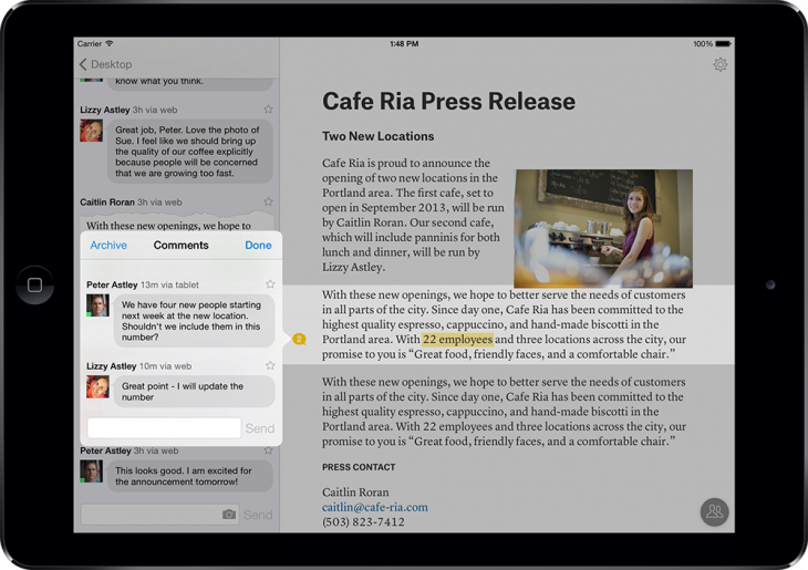 Quip Comments 730x515 Mobile word processing app Quip updated with Comments, Likes and Themes