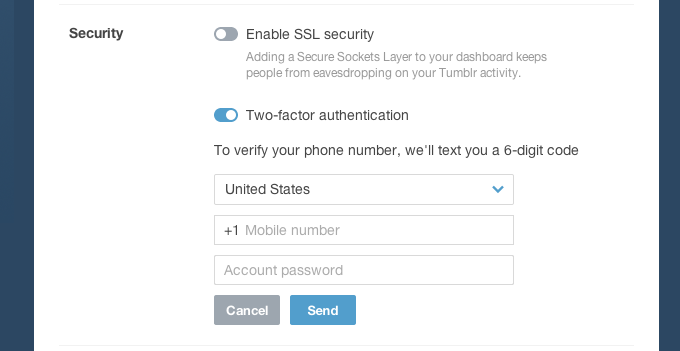 Screen Shot 2014 03 24 at 18.52.53 Tumblr ups the security of its blogging platform with optional two factor authentication