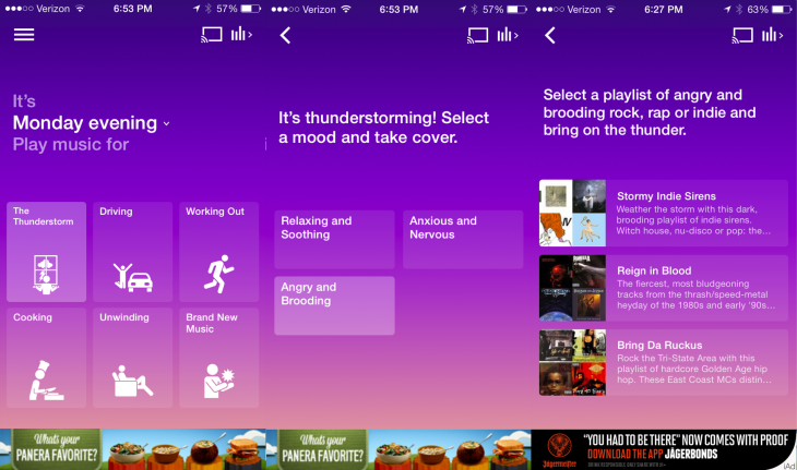 Songza Weather 730x431 Songza can now play you music based on the weather