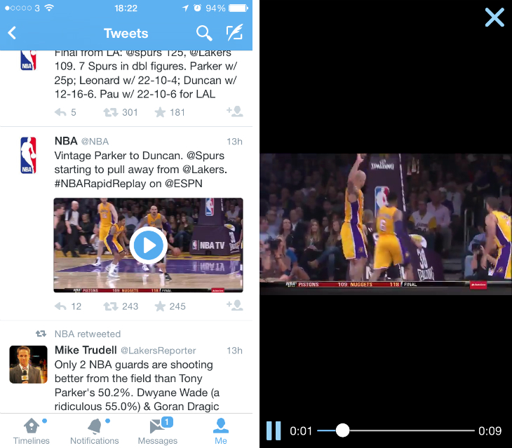 Twitter1 Twitter is testing one tap video playback across its mobile apps for Amplify partner clips