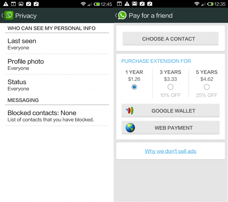 Whatsapp Android 730x648 WhatsApp for Android gets new privacy settings and lets you pay for a friends subscription