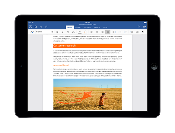 WordforiPad landscap Page Office for iPad first look: Echoing the desktop with a touch based twist
