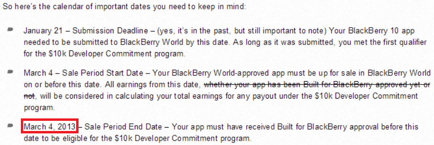bb 2013 BlackBerry changes approval date for its BlackBerry 10 app incentive program, enrages unpaid developers (Updated)