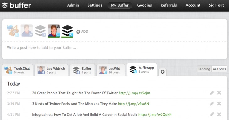 buffer tool social media platforms for business