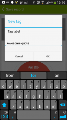 c4 220x391 Recordense for Android is a stylish recorder for annotating audio with notes