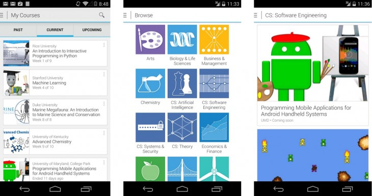 coursera android 730x385 Online learning company Coursera launches an Android app