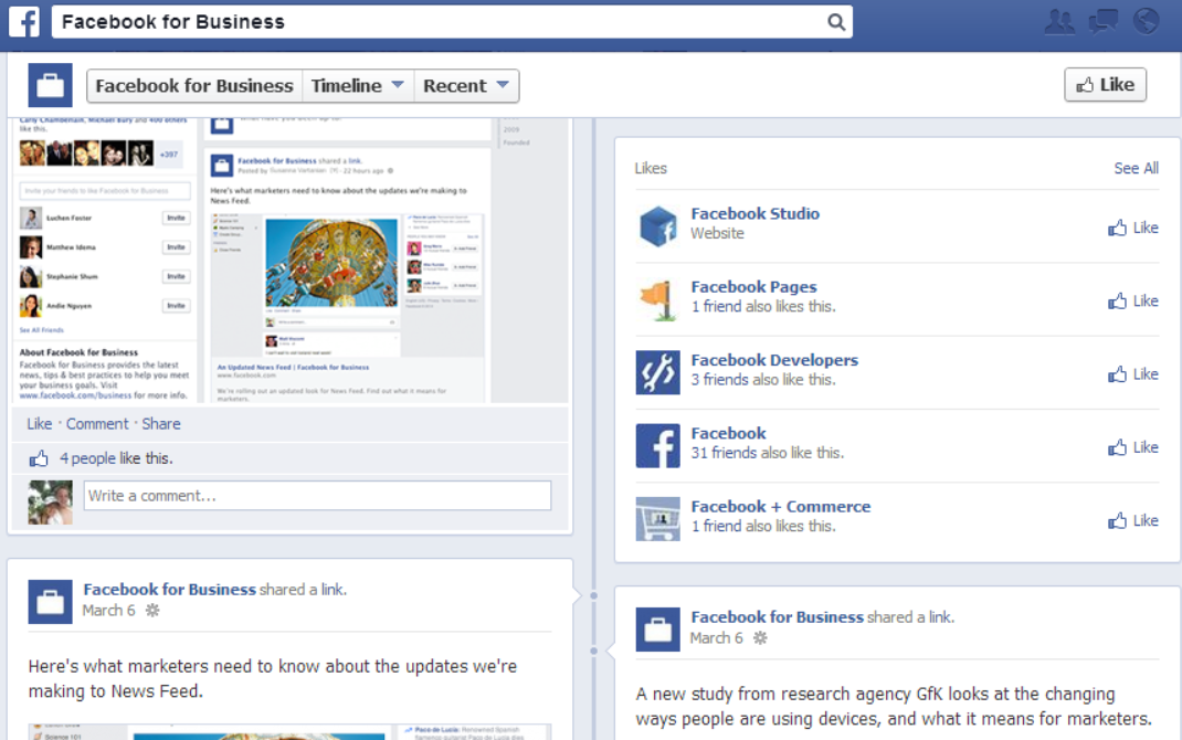 facebook business old Facebook rolls out one column Timeline design to all Pages