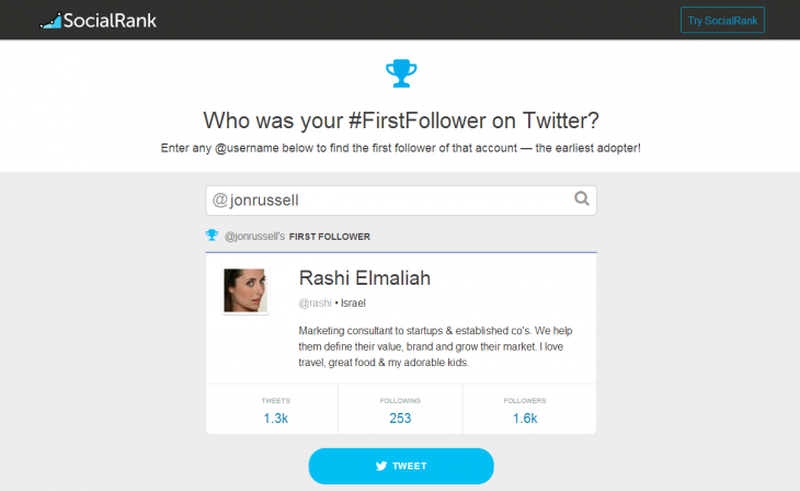 firstfollow 730x448 First Follower shows who the first person to follow you on Twitter was