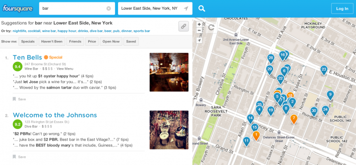 foursquare bar 730x339 St. Patricks Day 2014 app toolkit: A drinkers guide to getting your green on