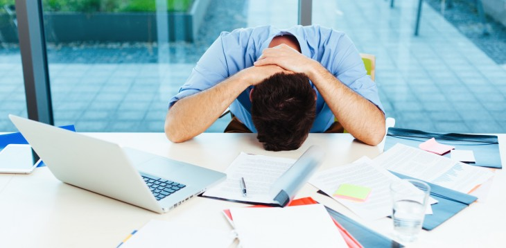 frustrated at work 730x358 Need to discover new business ideas? Leave work behind