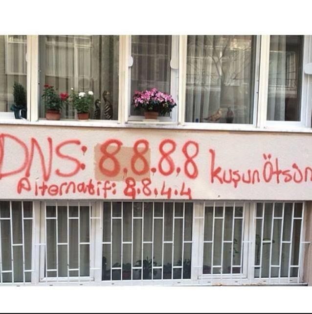 grafitti Turkey blocks Google DNS and Twitters IP addresses in attempt to further censor Twitter