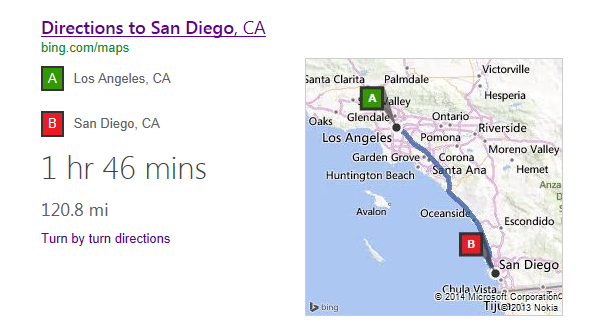 image 1150F839 Bing now shows a map, your estimated travel time and mileage when you ask for directions in the US