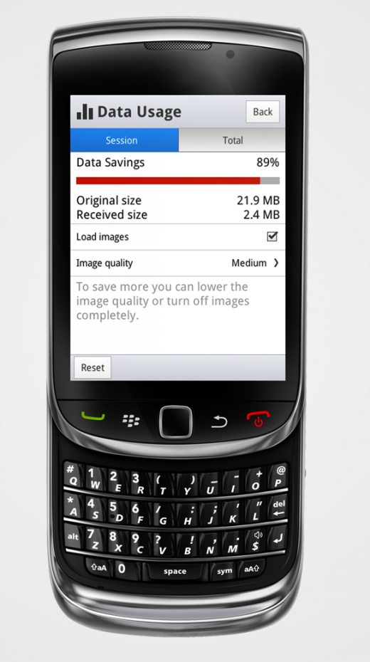 opera mini 8 screenshot g data savings 520x930 Opera Mini 8 sports a new look for basic phone users, tacks on private and night modes