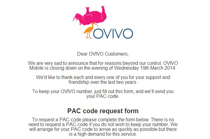 ovivo Ovivo, the UK operator that offered free services in exchange for ads, closes for reasons beyond our control