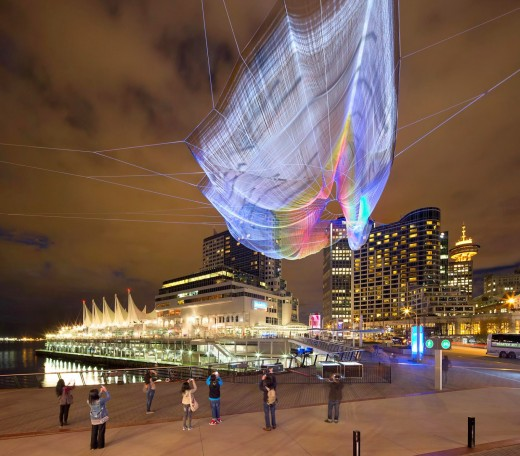 Giant Google Chrome enhanced textile sculpture lights up Vancouver sky