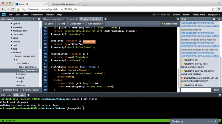 screenshot web ide 730x410 With $6.65m in its pocket, Nitrous.IO is set to help more developers save time and effort