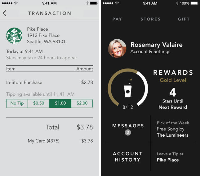 star1 Starbucks updates its iPhone app with Shake to Pay and digital tipping in the US