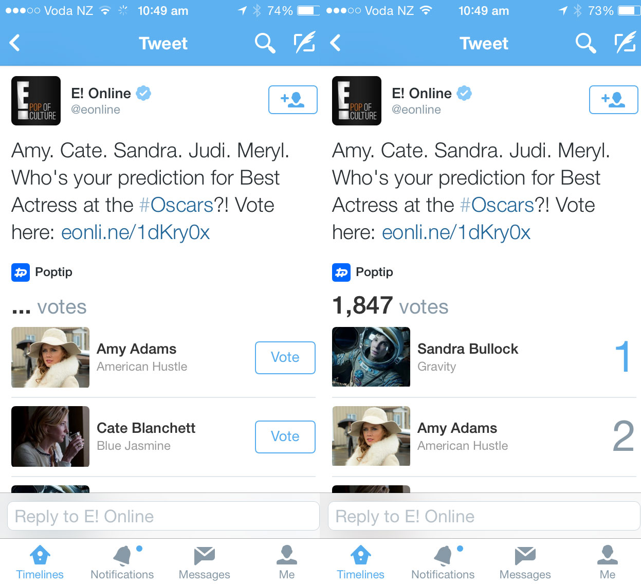 tweets New Twitter card lets you vote for your Oscar favorites