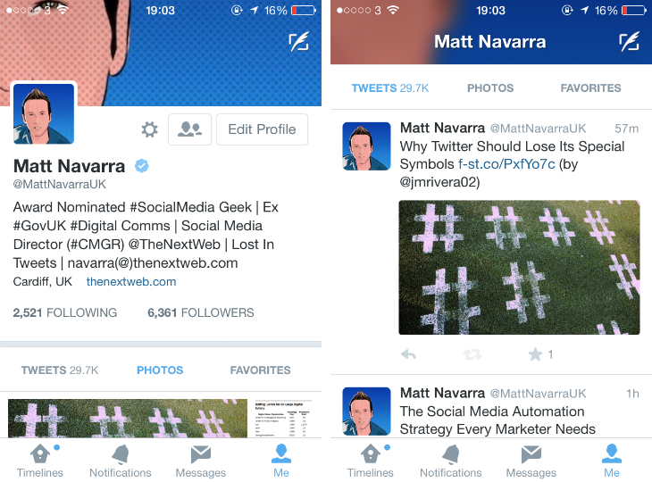 twitter1 Twitter is testing a profile redesign for its iOS app, just like on the Web