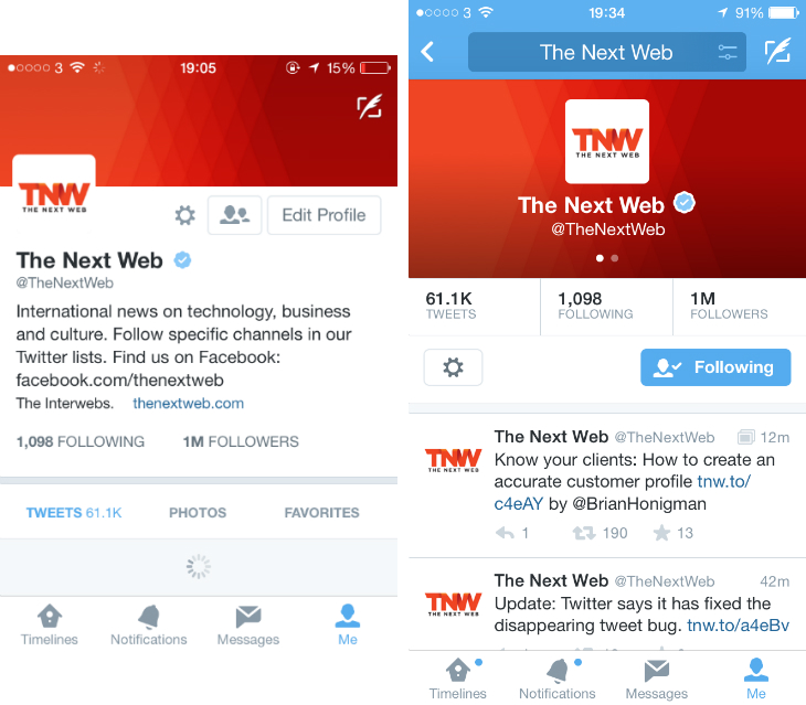 twitter4 Twitter is testing a profile redesign for its iOS app, just like on the Web