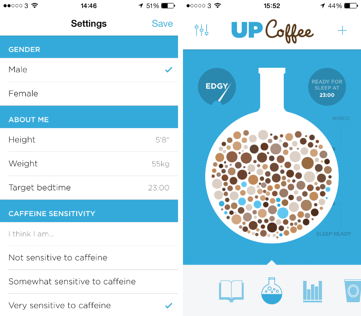 upcoffee1 Drink too much coffee? Jawbones new iOS app will tell you when to stop