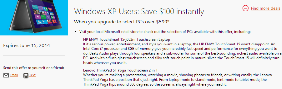 windows xp 100 off Microsoft offers Windows XP users $100 off select Windows 8 PCs